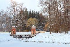 Κόκκινος καταρράκτης στις χιονοπτώσεις, πάρκο της χειμερινής Catherine Στοκ φωτογραφίες με δικαίωμα ελεύθερης χρήσης