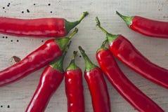 Κόκκινος - καυτά πιπέρια τσίλι Στοκ φωτογραφία με δικαίωμα ελεύθερης χρήσης