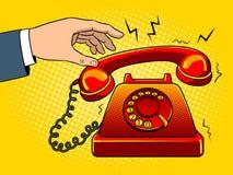 Κόκκινος - καυτή παλαιά τηλεφωνική λαϊκή τέχνη διανυσματική απεικόνιση Στοκ Φωτογραφίες