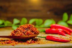 Κόκκινος καυτός πικάντικος πιπεριών τσίλι σε έναν ξύλινο Τσίλι ξηρά στο ξύλινο κουτάλι Στοκ Φωτογραφίες