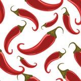 Κόκκινος - καυτό άνευ ραφής σχέδιο πιπεριών τσίλι Στοκ Φωτογραφίες