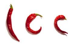 Κόκκινος - καυτό πιπέρι τσίλι που απομονώνεται στο άσπρο υπόβαθρο Στοκ φωτογραφία με δικαίωμα ελεύθερης χρήσης