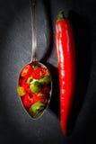 Κόκκινος - καυτό peperoni πιπεριών στο μαύρο υπόβαθρο Στοκ φωτογραφία με δικαίωμα ελεύθερης χρήσης