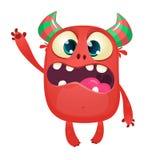Κόκκινος κερασφόρος μικροσκοπικός διάβολος κινούμενων σχεδίων Απεικόνιση που απομονώνεται διανυσματική διανυσματική απεικόνιση