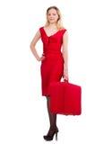 Κόκκινος κορμός εκμετάλλευσης γυναικών φορεμάτων που απομονώνεται στο λευκό Στοκ φωτογραφία με δικαίωμα ελεύθερης χρήσης