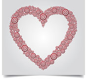 Κόκκινος κύκλος λευκό BG καρδιών Στοκ Εικόνες