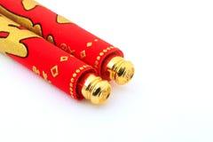 Κόκκινος κύλινδρος για την κινεζική νέα διακόσμηση έτους πέρα από το άσπρο υπόβαθρο Στοκ Φωτογραφία