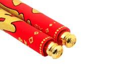 Κόκκινος κύλινδρος την κινεζική νέα διακόσμηση έτους που απομονώνεται για στο λευκό Στοκ Φωτογραφία