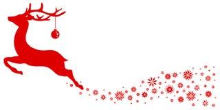 Κόκκινος πετώντας τάρανδος με τη σφαίρα Χριστουγέννων που φαίνεται προς τα εμπρός αστέρια ελεύθερη απεικόνιση δικαιώματος