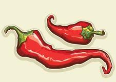 Κόκκινος - πιπέρια που απομονώνονται καυτά για το σχέδιο Στοκ φωτογραφία με δικαίωμα ελεύθερης χρήσης