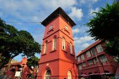 Κόκκινος πύργος ρολογιών Malacca Στοκ Φωτογραφία