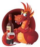 Κόκκινος δράκος και κόκκινο κρασί Στοκ φωτογραφία με δικαίωμα ελεύθερης χρήσης
