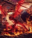 Κόκκινος δράκος σε ένα δαχτυλίδι της πυρκαγιάς διανυσματική απεικόνιση