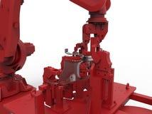 Κόκκινος ρομποτικός βραχίονας ελεύθερη απεικόνιση δικαιώματος