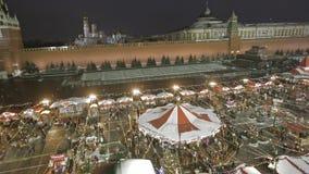κόκκινος Ρωσία τετραγωνικός χειμώνας της Μόσχας απόθεμα βίντεο