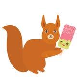 Κόκκινος σκίουρος με το παγωτό φράουλα-φυστικιών, γλειφιτζούρι Kawaii πάγου με τα ρόδινα μάγουλα και τα μάτια κλεισίματος του ματ Στοκ Εικόνα