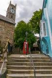 Κόκκινος τηλεφωνικός θάλαμος, συμβολικός αγγλικός κόκκινος θάλαμος, εικονίδιο της Αγγλίας, γ στοκ εικόνα