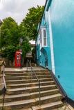 Κόκκινος τηλεφωνικός θάλαμος, συμβολικός αγγλικός κόκκινος θάλαμος, εικονίδιο της Αγγλίας, γ στοκ φωτογραφίες