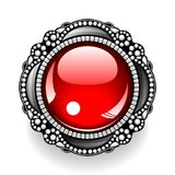 κόκκινος τρύγος κουμπιών Στοκ Φωτογραφία