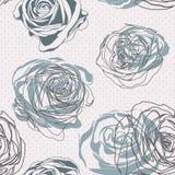 κόκκινος τρύγος ύφους κρίνων απεικόνισης Floral αυξήθηκε πρότυπο Στοκ εικόνα με δικαίωμα ελεύθερης χρήσης