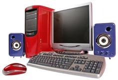 Κόκκινος υπολογιστής με τα μπλε ακουστικά συστήματα Στοκ Φωτογραφίες