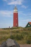 Κόκκινος φάρος σε Texel Στοκ Εικόνες