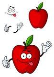 Κόκκινος χαρακτήρας φρούτων μήλων Cartooned Στοκ Εικόνα