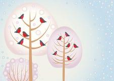 κόκκινος χειμώνας δέντρων πουλιών Ελεύθερη απεικόνιση δικαιώματος