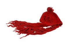 κόκκινος χειμώνας καπέλω& Στοκ Φωτογραφίες