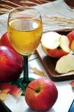 Κόκκινος χυμός της Apple με τη φρέσκια Apple στο υπόβαθρο Στοκ Εικόνα