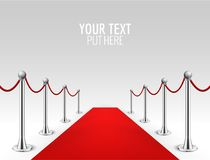 Κόκκινου χαλιού ρεαλιστική διανυσματική απεικόνιση υποβάθρου εμποδίων γεγονότος ασημένια Παρουσίαση γεγονότος προσωπικοτήτων εισό διανυσματική απεικόνιση