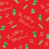 Κόκκινο άνευ ραφής διανυσματικό υπόβαθρο σχεδίων Χριστουγέννων ελεύθερη απεικόνιση δικαιώματος