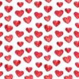 Κόκκινο άνευ ραφής σχέδιο καρδιών, απεικόνιση watercolor απεικόνιση αποθεμάτων