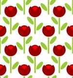 Κόκκινο άνευ ραφής σχέδιο τουλιπών η ανασκόπηση εύκολη επιμελείται τα στρώματα λουλουδιών στο διάνυσμα Αναδρομικό fabr Στοκ Εικόνες