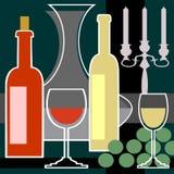 κόκκινο άσπρο κρασί κηροπ&et Στοκ εικόνα με δικαίωμα ελεύθερης χρήσης