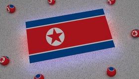 Κόκκινο άσπρο μπλε αστέρι σημαιών Βόρεια Κορεών απεικόνιση αποθεμάτων