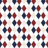 Κόκκινο, άσπρο μπλε σχέδιο επανάληψης διαμαντιών άνευ ραφής Στοκ Εικόνες