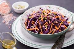 Κόκκινο λάχανο, καρότο, κρεμμύδι και σαλάτα νεαρών βλαστών ραδικιών Στοκ Εικόνα