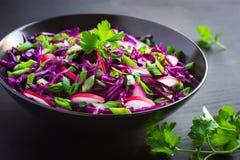Κόκκινο λάχανο, σαλάτα κρεμμυδιών ραδικιών και άνοιξη Στοκ φωτογραφίες με δικαίωμα ελεύθερης χρήσης
