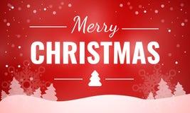 Κόκκινο έμβλημα έννοιας θέματος Χαρούμενα Χριστούγεννας, ύφος κινούμενων σχεδίων απεικόνιση αποθεμάτων