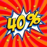 Κόκκινο έμβλημα Ιστού πώλησης Έξοχη πώληση Σαράντα τοις εκατό 40 από την πώληση Στοκ φωτογραφίες με δικαίωμα ελεύθερης χρήσης