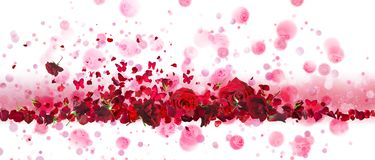 Κόκκινο έμβλημα τριαντάφυλλων και πεταλούδων στοκ φωτογραφία με δικαίωμα ελεύθερης χρήσης