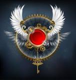 Κόκκινο έμβλημα με τα άσπρα φτερά Στοκ φωτογραφία με δικαίωμα ελεύθερης χρήσης
