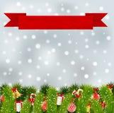 Κόκκινο έμβλημα με τα στοιχεία Χριστουγέννων Στοκ Εικόνες