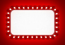 Κόκκινο έμβλημα νέου στο κόκκινο υπόβαθρο Στοκ Φωτογραφίες