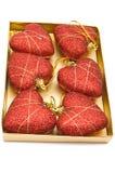κόκκινο έξι καρδιών δώρων Χριστουγέννων στοκ εικόνα με δικαίωμα ελεύθερης χρήσης