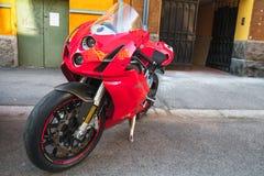 Κόκκινο έξοχο ποδήλατο Ducati 749s Στοκ εικόνα με δικαίωμα ελεύθερης χρήσης