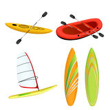 Κόκκινο αθλητικών βαρκών που η κίτρινη windsurfing απεικόνιση ιστιοσανίδων καγιάκ πορτοκαλιά πράσινη Στοκ εικόνες με δικαίωμα ελεύθερης χρήσης