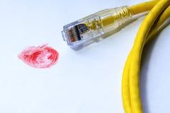 Κόκκινο δακτυλικό αποτύπωμα με το καλώδιο δικτύων Στοκ Φωτογραφίες
