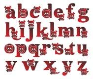 Κόκκινο αλφάβητο κρανίων Στοκ Φωτογραφίες